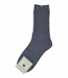 جوراب پشمی ساقدار طرح لمه خاکستری
