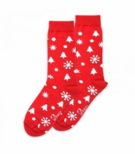 جوراب ساقدار نانو پاتریس طرح کاج و برف قرمز
