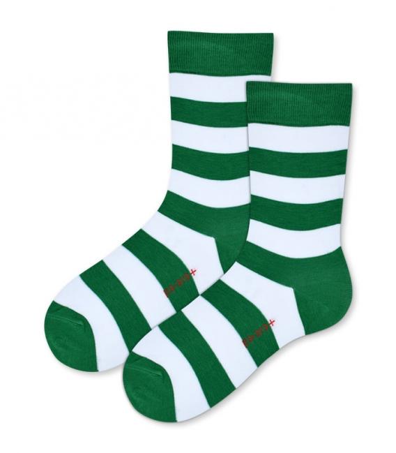 جوراب نانو ساق بلند پاآرا طرح راه راه سبز سفید