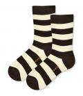 جوراب ساقدار پاآرا طرح راه راه قهوهای کرم