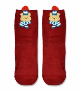 جوراب نیم ساق طرح خرس سرمایی قرمز