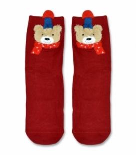 جوراب نیم ساق طرح خرس خندان قرمز