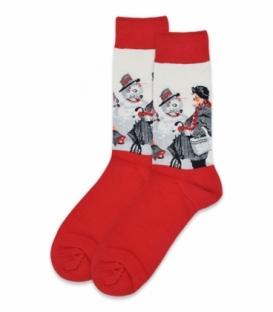 جوراب ساقدار طرح مادربزرگ قرمز شیری