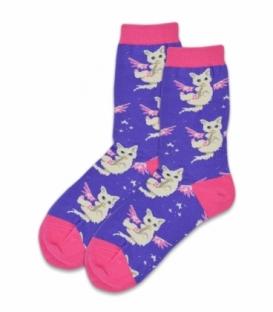 جوراب ساقدار طرح بچه گربه بنفش
