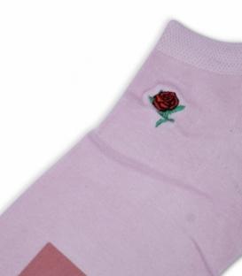 جوراب مچی طرح گل رز صورتی