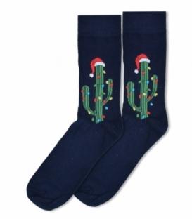 جوراب ساقدار Ekmen طرح کاکتوس کریسمسی سرمهای