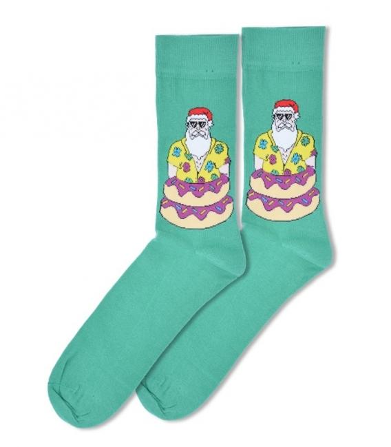 جوراب ساقدار Ekmen طرح بابانوئل در دونات سبز