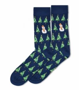 جوراب ساقدار Ekmen طرح درخت کریسمس سرمهای