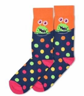جوراب ساقدار Ekmen طرح میکروب سرمهای نارنجی