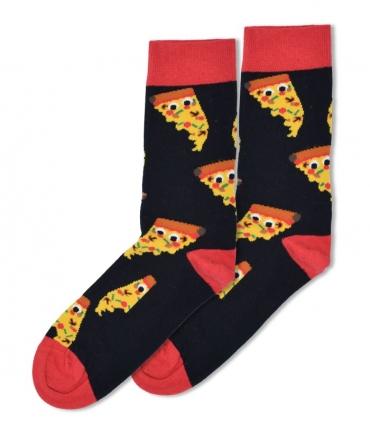 جوراب ساقدار Ekmen طرح پیتزا بامزه مشکی