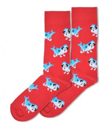 جوراب ساقدار Ekmen طرح سگ در لباس کوسه قرمز