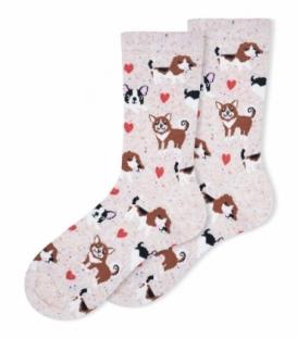 جوراب ساقدار Ekmen طرح سگ صورتی روشن