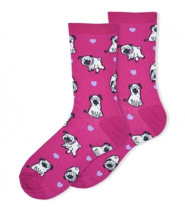 جوراب ساقدار Ekmen طرح سگ بامزه سرخابی