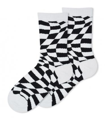 جوراب ساقدار Ekmen طرح اعوجاج سفید