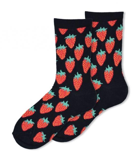 جوراب ساقدار Ekmen طرح توت فرنگی مشکی
