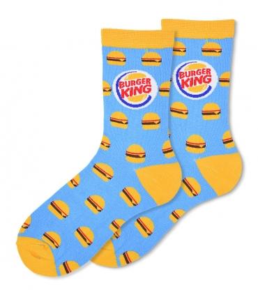 جوراب ساقدار Ekmen طرح برگر Burger King آبی