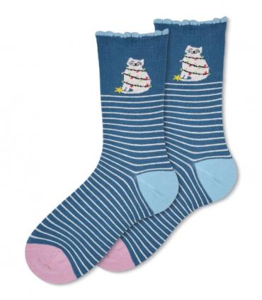 جوراب ساقدار Ekmen طرح گربه کریسمس آبی