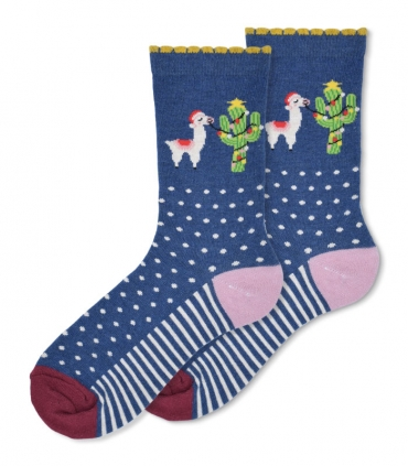 جوراب ساقدار Ekmen طرح لاما کریسمسی سرمهای