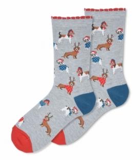 جوراب ساقدار Ekmen اکمن طرح سگ کریسمسی خاکستری