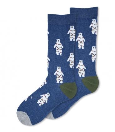 جوراب ساقدار Ekmen طرح خرس کریسمس سرمهای