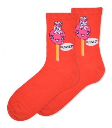 جوراب ساقدار Ekemn طرح آبنبات خوشحال قرمز