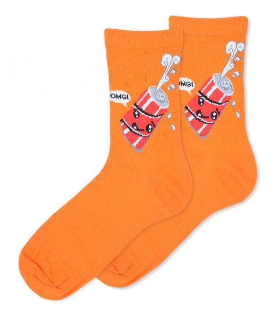 جوراب ساقدار Ekemn طرح نوشابه خوشحال نارنجی
