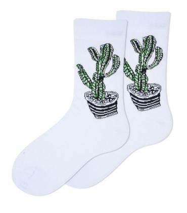 جوراب ساقدار Ekemn طرح کاکتوس سفید