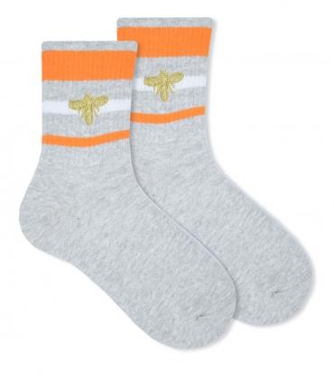 جوراب ساقدار Ekemn طرح سه خط خاکستری