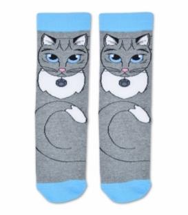 جوراب ساقدار Ekmen اکمن طرح گربه ملوس خاکستری