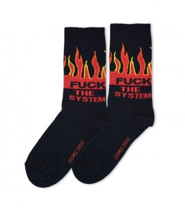 جوراب ساقدار Cosmos کازموس طرح FCUK THE SYSTEM مشکی