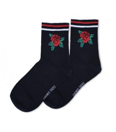 جوراب ساقدار Cosmos کازموس طرح گل رز مشکی