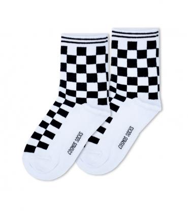 جوراب ساقدار Cosmos کازموس طرح شطرنجی سفید