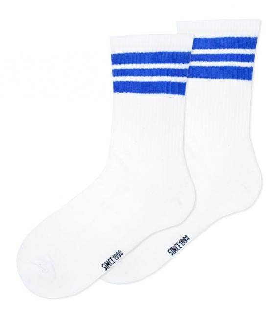 جوراب ساقدار Ekmen طرح سه خط سفید آبی