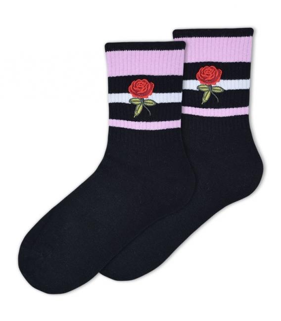 جوراب ساقدار Ekmen طرح سه خط گل رز مشکی