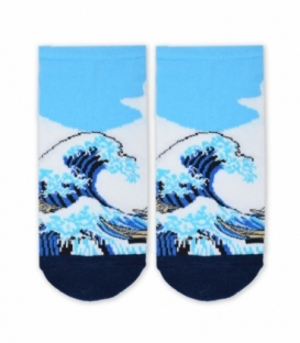 جوراب مچی Cosmos کازموس طرح موج عظیم کاناگاوا آبی