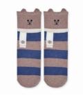 جوراب نیم ساق طرح خرس راه راه قهوهای سرمهای
