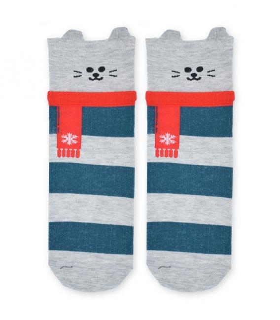 جوراب نیم ساق طرح گربه راه راه خاکستری سبز