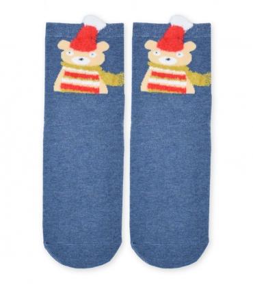 جوراب نیم ساق طرح خرس سرمهای