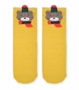 جوراب نیم ساق طرح خرس خردلی