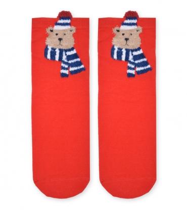 جوراب نیم ساق طرح خرس قرمز