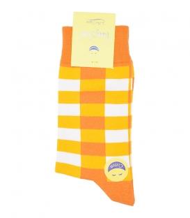 جوراب ساقدار فانی ساکس مردانه چهارخونه نارنجی