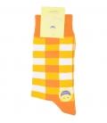 جوراب ساق بلند فانی ساکس مردانه چهارخونه نارنجی