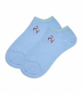 جوراب قوزکی گلدوزی طرح تکشاخ آبی