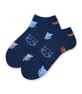 جوراب قوزکی طرح گربه سرمهای