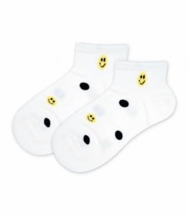 جوراب مچی کش پهن طرح ایموجی سفید