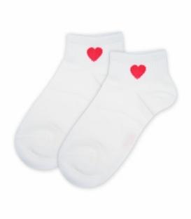جوراب مچی کش پهن طرح قلب سفید
