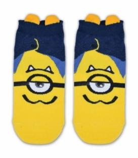 جوراب مچی گوشدار طرح مینیون تک چشم سرمهای زرد