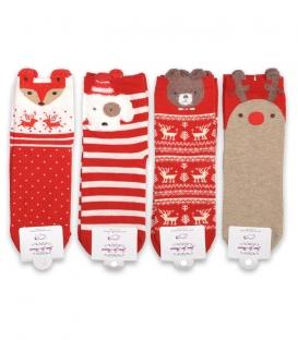 پک جوراب نیم ساق گوشدار طرح کریسمسی - 4 جفت