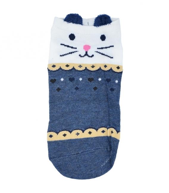 پک جوراب قوزکی گوشدار طرح گربه - 5 جفت