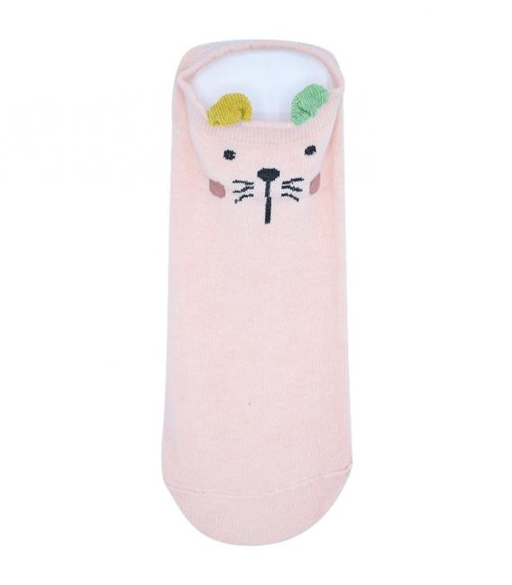 پک جوراب گوشدار قوزکی طرح حیوانات صورتی